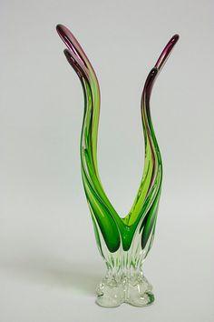 Italian Glass Centerpiece Vase // Murano Venini by PhaseModern