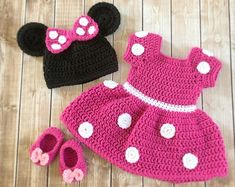 Minnie Mouse Inspired Costume/Minnie Mouse Hat/ Minnie Mouse Costume Available in Newborn to . Minnie Mouse Inspired Costume/Minnie Mouse Hat/ Minnie Mouse Costume Available in Newborn to 12 Month Size- MADE TO ORDER, Crochet Baby Costumes, Crochet Baby Clothes, Crochet Baby Hats, Baby Knitting, Crochet Outfits, Newborn Crochet, Crochet Halloween Costume, Crochet Baby Dresses, Crochet Poncho