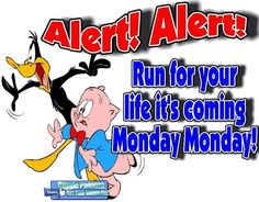 Alert! Alert! Run For Your Life It's Coming, Monday Monday! monday monday quotes…