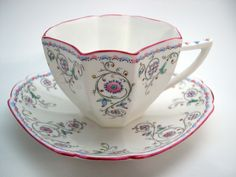 Antique SHELLEY Tea Cup And Saucer Rare Shelley Queen Anne