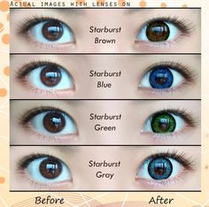 Starburst series contacts close up Hazel Contacts, Green Contacts, Circle Lenses, Picture Collection, Close Up, Aqua, Make Up, Grey, Brown