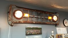 66-77 Ford Bronco grill wall hanger, with working dimmable lights, For Sale