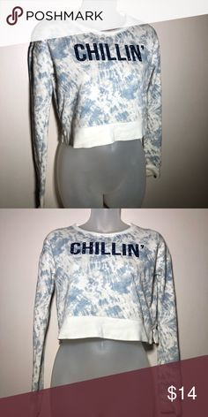 ef9e49c650 XS Chillin Long Sleeve Crop Top Size extra small. Chillin with bejeweled  features on lettering