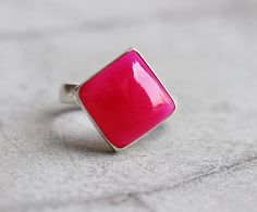 Fuschia Pink ring  Pink chalcedony square ring  by Studio1980, $60.00
