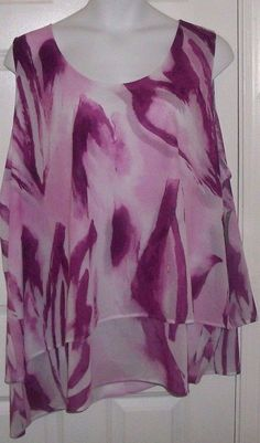 NWT asy layered blouse LANE BRYANT tye dye purple 4X (26-28) tank plus top #LaneBryant #TyeDyelayeredasymmetrictankblouse #formalWAISTmeasures6062