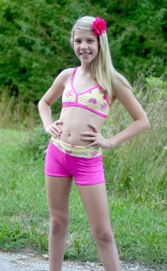 Girl's Yellow and Hot Pink Dancewear Top and by LegacyDancewear ❤ Cute Girl Outfits, Dance Outfits, Sexy Outfits, Young Girl Fashion, Tween Fashion, Bikinis For Teens, Kids Swimwear, Little Girl Swimsuits, Junior Fashion