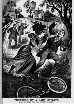 """Evening Post: August Reported the story of a drunk youth shouting rude things to a lady cyclist. """"She immediately alighted, caught hold of the astonished youth, and gave him a sound thrashing, using her fists in a scientific fashion…"""" Police News, Bicycle Quotes, Female Cyclist, Lightning Strikes, Cycling Art, Cycling News, Printmaking, Cartoon, Lady"""