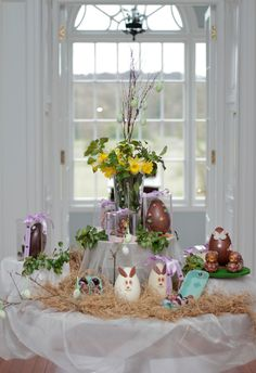 The wonderful chocolate display in Mount Juliet House - Happy Easter from all at Mount Juliet Estate. Mount Juliet, 5 Star Hotels, Happy Easter, Display, Table Decorations, Chocolate, House, Happy Easter Day, Floor Space