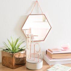 GRETA copper metal hexagonal mirror 23 x 23 cm Rose Gold Theme, Rose Gold Decor, My New Room, My Room, Gold Bedroom, Bedroom Decor, Metal Side Table, Side Tables, Metal Mirror