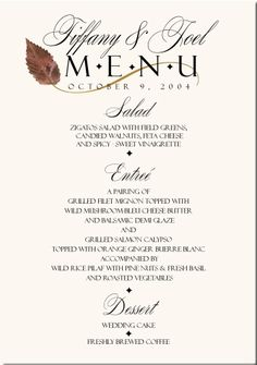 wedding menus | Fall Wedding Menu Cards-Autumn Theme Wedding Menu Cards-Fall Wedding ...