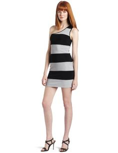Wrapper Juniors Bodycon One Shoulder Stripe Dress SilverBlack Medium ** Check out this great product.