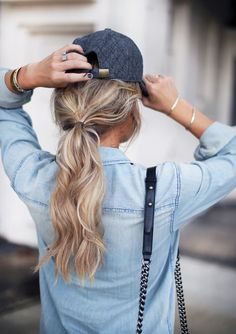 baseball cap + low pony + chambray shirt