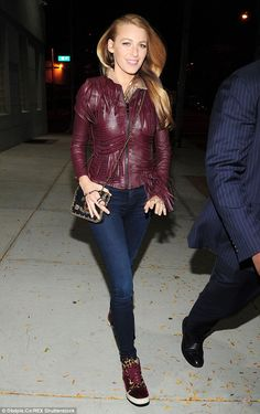 Blake Lively Wears A Burgundy Leather Jacket And Leopard-Print Sneakers In NYC… Burgundy Leather Jacket, Fringe Leather Jacket, Red Leather, Sneaker Outfits, Serena Van Der Woodsen, Olivia Palermo, High Tops, Leopard Print Sneakers, Dragon Ball