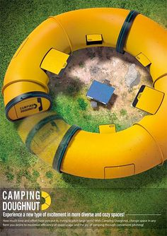 Camping Doughnut: A modular camping unit that can be linked into various configurations
