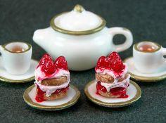 Strawberry Shortcakes and Tea Ensemble  (1:12th scale)
