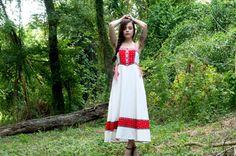 60s Red White Dress Bohemian Prairie Floral Plaid by yokovintage, $69.99