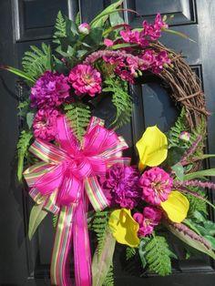 Spring Door Wreath, Easter Wreath, Mothers Day Wreath, Front Door Wreath, Wreath Front Door,Fern Wreath, Summer, Peonies, Zinnias, Calla Lilies,