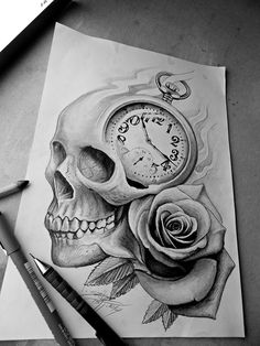 skull rose clock tattoo design