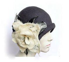 Grey Felt Hat felted hat Cloche Hat Art Gray Hat by Feltpoint