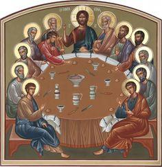 Gerardo Zenteno Religious Icons, Religious Art, Baptism Of Christ, Holy Thursday, Byzantine Icons, Last Supper, Holy Week, Catholic Art, Orthodox Icons