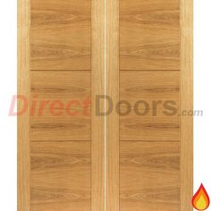 JB Kind Brisa Mistral Flush Oak Veneered Fire Door Pair with Decorative Groove, Pre-finished, 30 Minute Fire Rated  #flushfiredoors