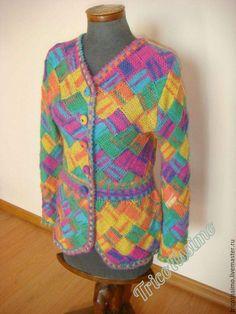 Купить Кардиган Артистик, ручное вязание - комбинированный, печворк, авторский трикотаж, вязанный кардиган, энтерлак