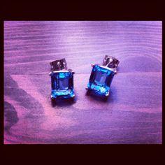 Blue Sapphire Topaz Stud Earrings - Sterling Silver and Swiss Topaz - September Birthstone - Jennifer Cervelli Jewelry