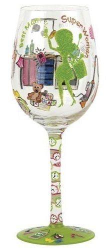 """Stay at Home Mom"" Wine Glass by Lolita (Hula Island)"