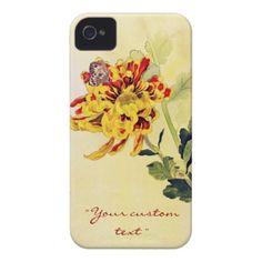 Classic vintage ukiyo-e chrysanthemum butterfly iPhone 4 Case-Mate case #Classic #vintage #ukiyo-e #chrysanthemum and #butterfly unique #gifts from #Zazzle #Japan #japanese #oriental #flower #gift #customizable