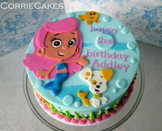 """Bubble Guppies by CorrieCakes - Make your bubbles """"pop"""" with white detail. Painting little highlights with Americolor's Bright White color gel is such a quick and easy way to add the look of shine. Bubble Guppies Birthday Cake, Bubble Guppies Party, Bubble Party, Frozen Birthday Party, Birthday Party Favors, 2nd Birthday Parties, Birthday Fun, Bubble Guppies Cupcakes, Birthday Ideas"""
