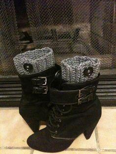 Gray Crochet Boot Cuffs