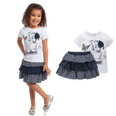 2015 New 1-5 Year Baby Girl Clothing Sets T-shirt And Dress 2PC Cotton Cartoon Dog Summer Girl Clothes Newborn Baby Girl Dress