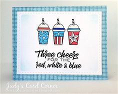 Handmade coffee card by Judy1223 using the Three Cheers digital set from Verve. #vervestamps #patriotic