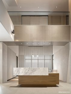 Image 4 of 18 from gallery of Shenzhen Zhongjing - Financial Innovation Center / PleasantHouse. Photograph by Ming Yan Modern Reception Desk, Reception Desk Design, Hotel Reception, Reception Furniture, Hotel Lobby Design, Corporate Interiors, Office Interiors, Hotel Interiors, Lobby Interior