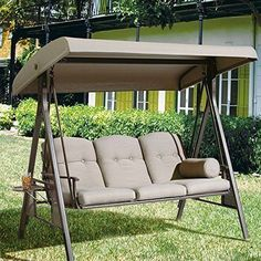 Outdoor Hammock Chair Couch Swing w/ Cannopy Steel Frame Patio Yard Garden NEW #APatio