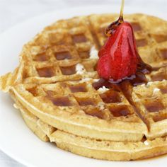 These waffles have no eggs and no dairy, yet they are still crisp, fluffy and delicious.