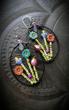 Flowers, Wire Wrapped, Hoops, Artisan Made, Leaves, Summer, Spring, Glass, Organic, Rustic, Boho, Unique, Beaded Earrings by YuccaBloom on Etsy