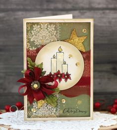 Handmade Christmas card by Laurie Schmidlin using the Light My World set from Verve.  #vervestamps