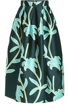 Leaf Printed Skirt Green
