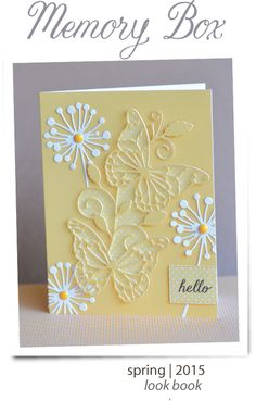 The brilliant Pam Sparks has created a slew of card samples for the new 2015 Memory Box Idea Catalog! So many incredible ideas - thank you Pam and Dave and all the great folks at Memory Box! Pretty Cards, Cute Cards, Diy Cards, Memory Box Cards, Memory Box Dies, Butterfly Cards, Flower Cards, Karten Diy, Embossed Cards