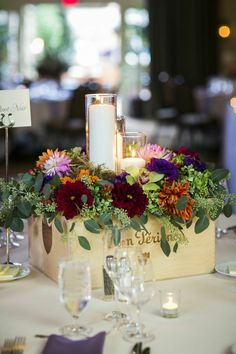 Wine box flowers really make a statement. A Monique Affair can put the elegance into your wedding. Have a coordinated day! #weddings #flowers #wineryweddings #amoniqueaffair