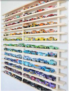 40 Clever Kid's Playroom Organization Ideas For Boys Hot Wheels Display, Hot Wheels Storage, Toy Car Storage, Kids Room Organization, Playroom Organization, Kids Storage, Playroom Decor, Wall Storage, Storage Ideas