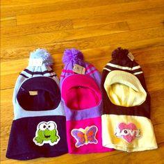 3 items -Crazy ✅✅Sale Kids Mask hats/hood/winter ✅ Kids Mask hats/Winter hats/hood/mask Pom-pom kids winter hats. heart  frog butterfly  H.B. Vidai  Accessories Hats