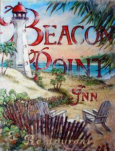 Beacon Point is another lush vintage travel poster from artist Janet Kruskamp. The beautiful seaside scene is anchored by a white lighthouse with a red cap