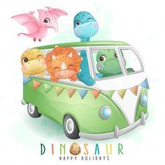 Train Illustration, Unicorn Illustration, Butterfly Illustration, Forest Illustration, Watercolor Illustration, Dinosaur Play, Dinosaur Funny, Dinosaur Birthday, Boat Cartoon