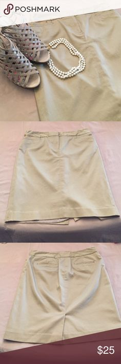 Classic preppy khaki pencil skirt 😍❤ Looks great on! Can be paired with anything! Super cute with a navy blazer or cardigan! Gold zipper pocket plus two regular pockets on front plus two back pockets. Tiny spot on back that is super tiny and not at all noticeable but disclosed anyway. Must have staple for any wardrobe! Jones New York Skirts Pencil