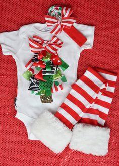 Baby Girl Ribbon Christmas Tree Onesie by HaydiePotateeBoutq, $38.00