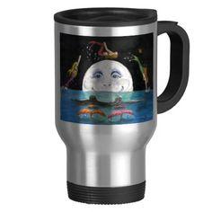 Mermaids Jumping Over Moon Cathy Peek Fantasy Art 15 Oz Stainless Steel Travel Mug