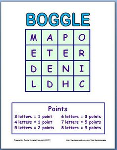 Boggle Templates - Make a New Game Every Time! What a great idea for centers! Kids could record words they find in a notebook they use for centers, or on a page just for this activity!