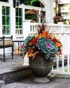 24 Marvelous Fall Container Garden Ideas For Garden Inspiration Fall Planters, Outdoor Planters, Garden Planters, Outdoor Decor, Winter Container Gardening, Container Plants, Fall Containers, Pot Jardin, Perfect Plants